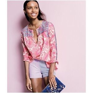 J. Crew pink embroidered top